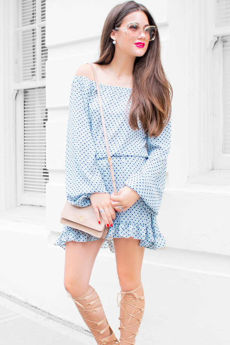 Printed Off-the-Shoulder ruffle Dress