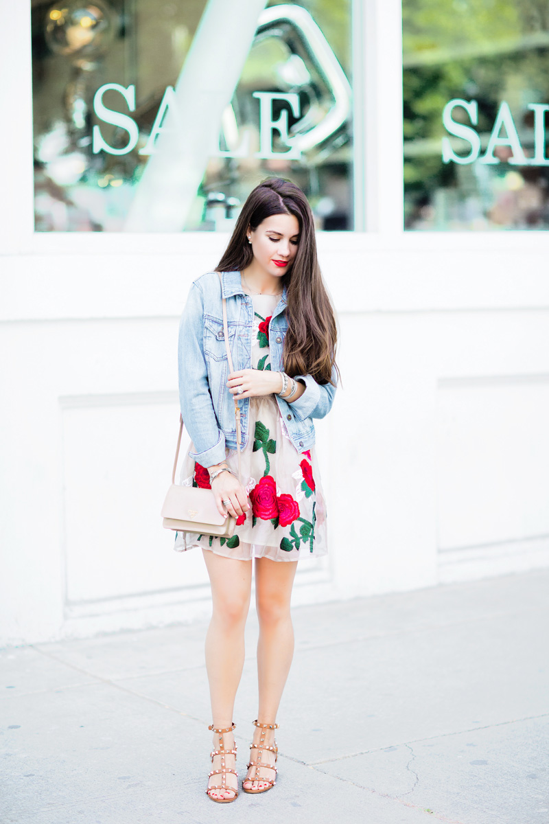 Embroidered floral mini dress with red roses