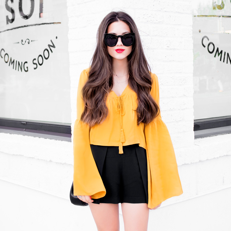 Embroidered Bell-Sleeve Peasant Top http://bit.ly/1HU4GwQ  Cat Eye Sunglasses Chloe Drew Mini Chain Shoulder Bag in Black   http://bit.ly/1JoUnDp    Embroidered Bell-Sleeve Peasant Top Cat Eye Sunglasses Chloe Drew Mini Chain Shoulder Bag in Black