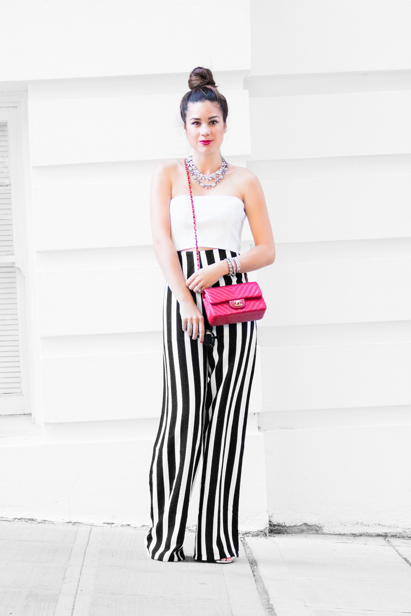 Fourth Of July Americana Outfit featuring Taylor Stripe Trousers and Red Chanel Handbag 1