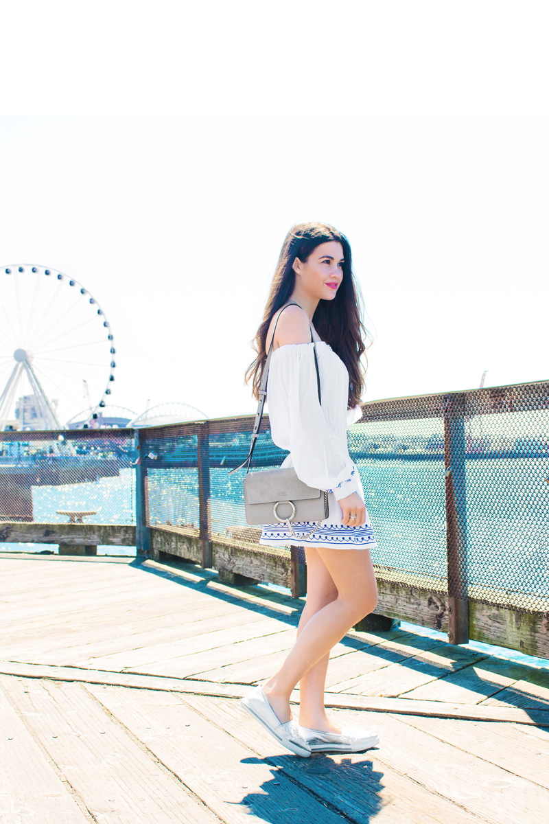 Seattle Water Front Pier Ivory Off-the-Shoulder Embroidered Dress