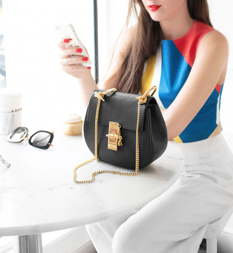 fashion blogger cellphone alice olivia Giana Layered Crop Top Chloe Drew Mini Chain Shoulder Bag in Black