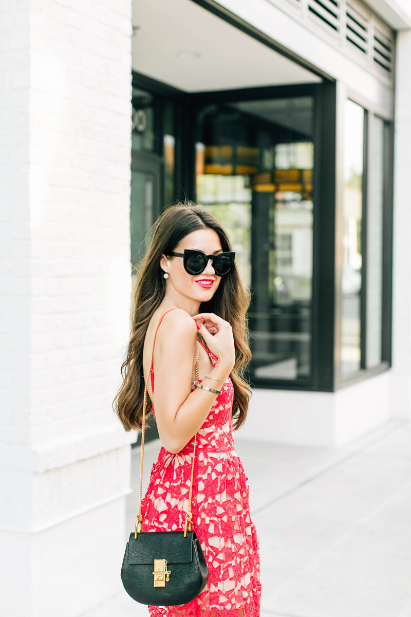 Red Spaghetti Strap Floral Crochet Hollow Dress