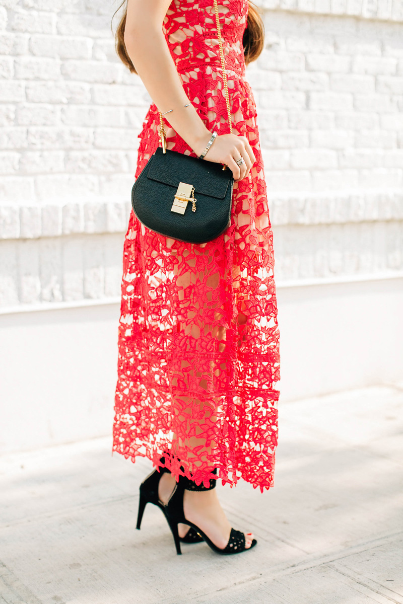 Chloe Drew Mini Chain Shoulder Bag in Black Red Spaghetti Strap Floral Crochet Hollow Dress