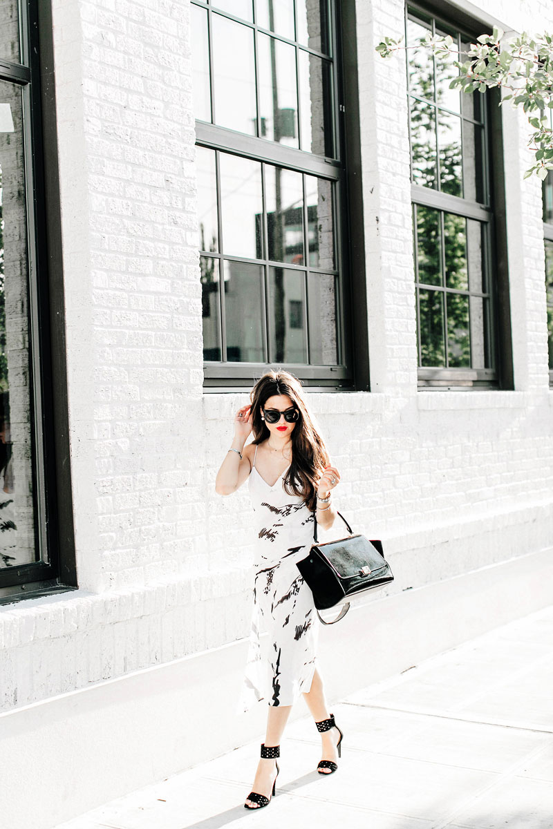 Back To The Basics In Black and White Marble Print Drape Midi Dress