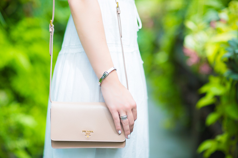 Prada Saffiano Mini Crossbody Bag in beige
