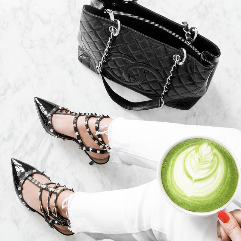 Valentino Rockstud Leather T-Strap Pump CHANEL logo quilted tote Matcha Latte