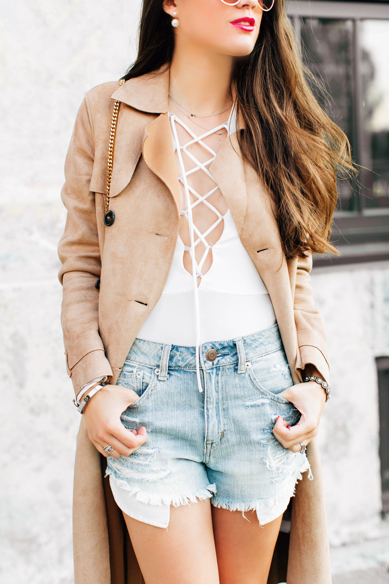 White lace up front Bodysuit LIPSY TIE BELT suede Trench Coat