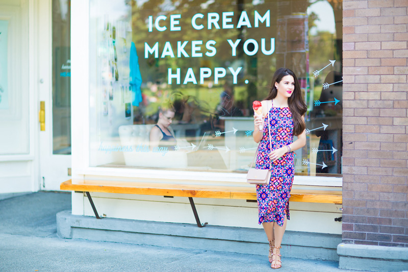 Yumi Kim Afternoon Tea Printed Pencil Fit Dress outside Molly Moon's Homemade Ice Cream Shop  Capitol Hill Seattle, WA