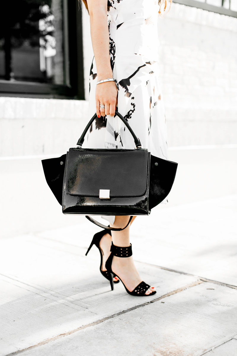 Back To The Basics In Black & White Marble Print Drape Midi Dress Celine Trapeze Handbag