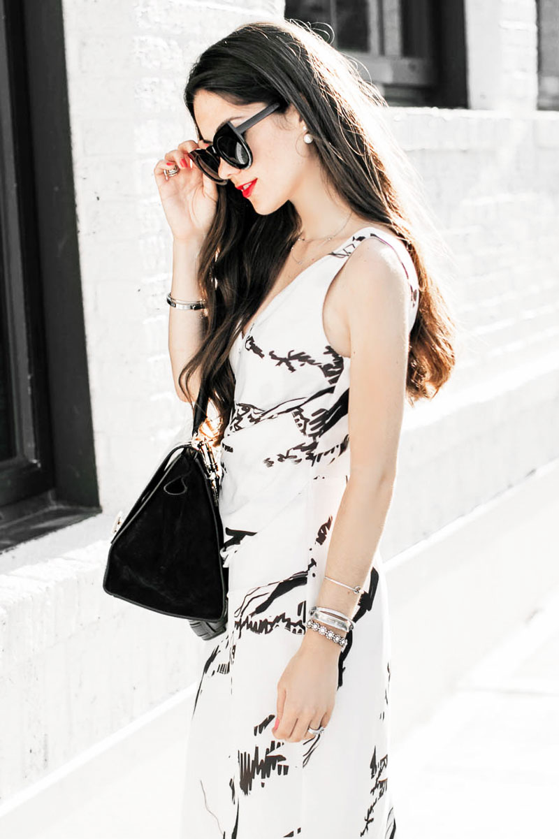 Back To The Basics In Black & White Marble Print Drape Midi Dress