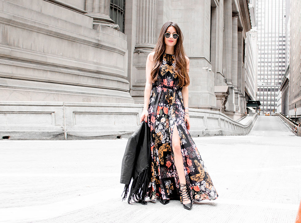 Butterfly's Ball Black Floral Print Maxi Dress