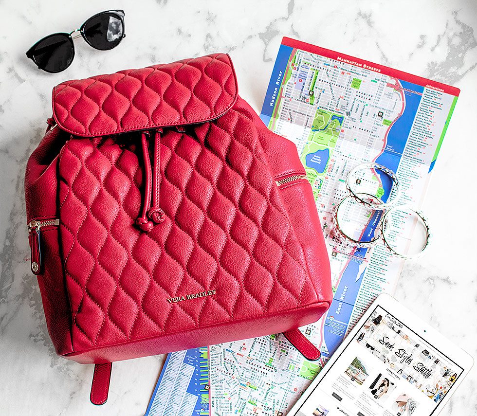 Fashion Week Survival Guide Vera Bradley Quilted Amy Backpack in Tango Red