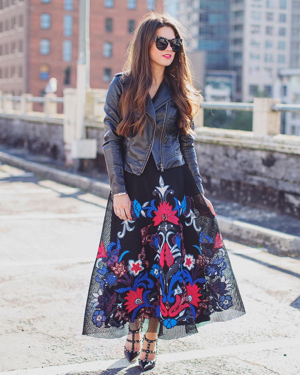 Sachin & Babi Noir Jomei Embroidered Mesh Midi Skirt