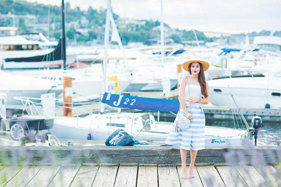 Nautical Summer Stripe Midi Skirt Outfit Seattle South Lake Union Waterfront