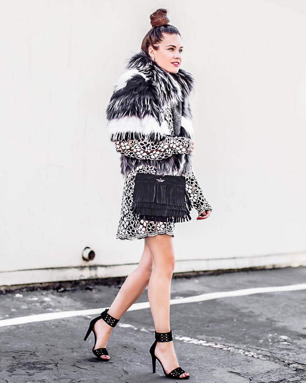 Kate Spade Suede Fringe Handbag Tracy Reese Floral Lace Mock Neck Mini Dress