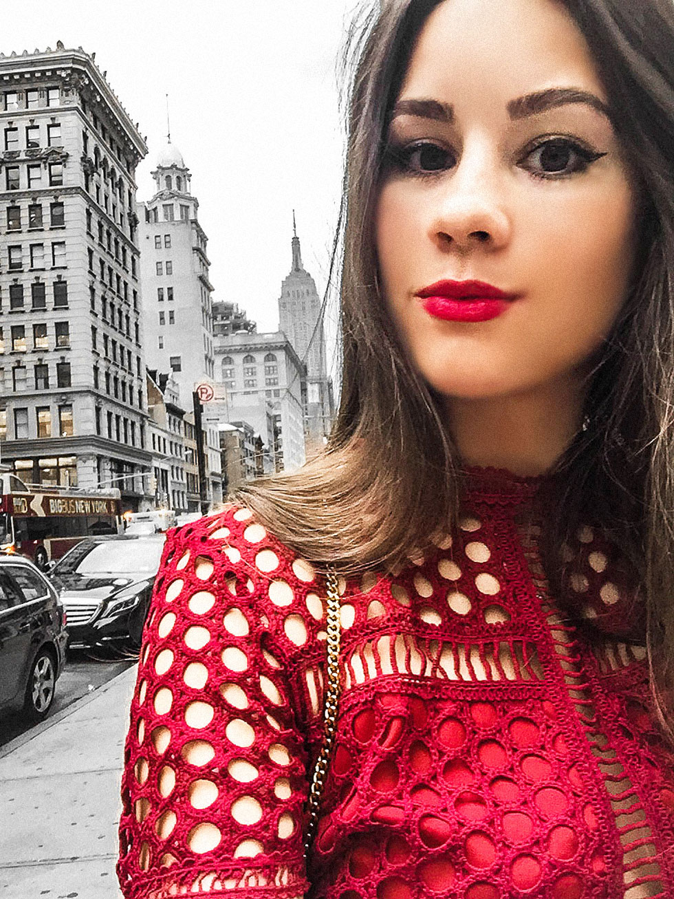 NYFW Day One Red Short Sleeve Lace Midi Dress