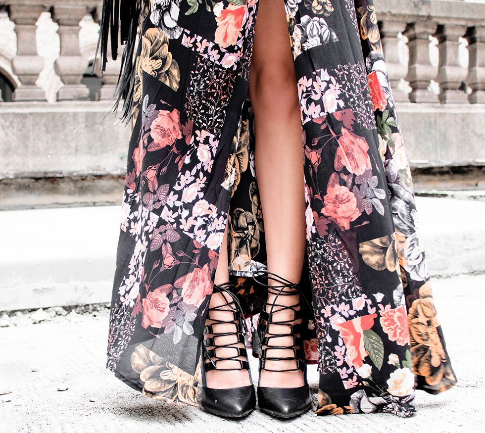 Butterfly's Ball Black Floral Print Maxi Dress Want You to Stay Black Lace-Up Heels