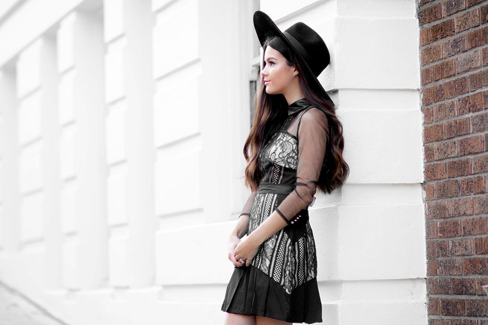 Sheer Black Long Sleeve Lace Dress