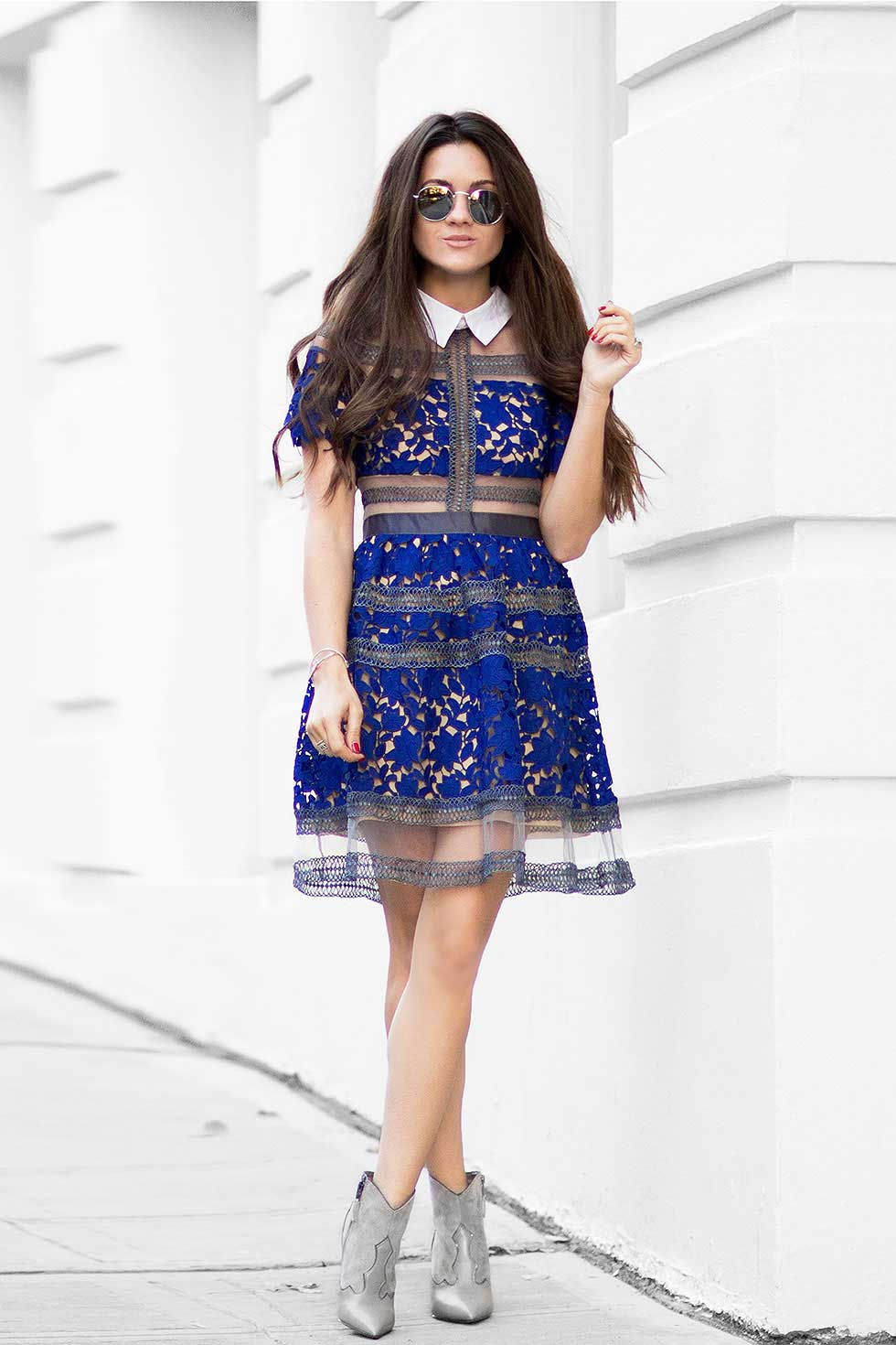 Fall's Must-have Modern Lace Dress: Blue Lapel Contrast Sheer Mesh Lace Dress