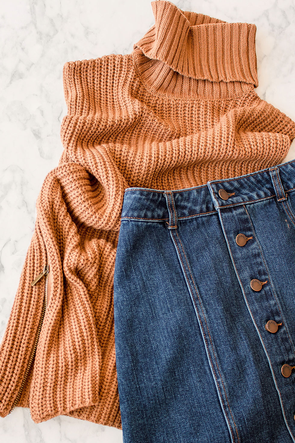 5 Fashionable Fall Items to Try Right Now Forever 21 Buttoned A-Line Denim Skirt and Turtleneck Tunic