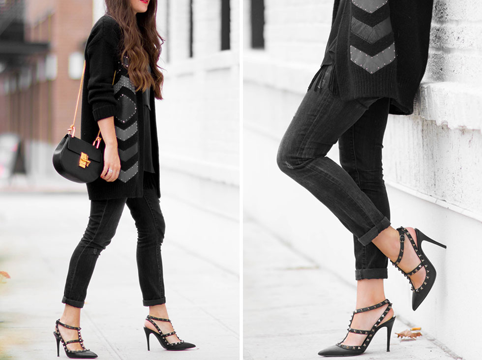 Foundrae Slouchy Cardigan with Leather Detail and Valentino Noir Rockstud Leather Pumps