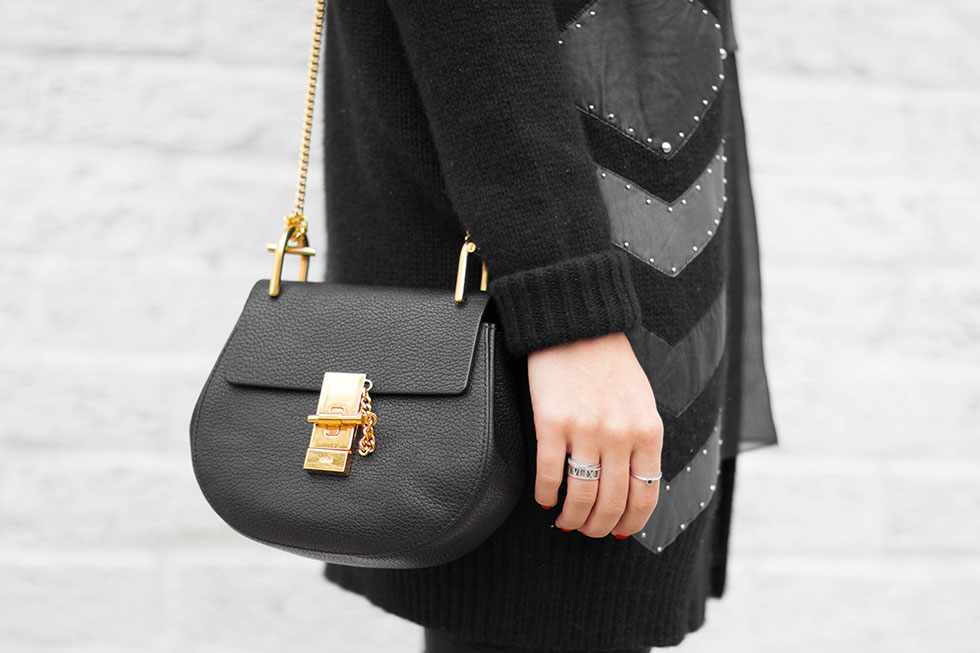 Foundrae Slouchy Cardigan with Leather Detail and Chloe Drew Mini Chain Shoulder Bag in Black