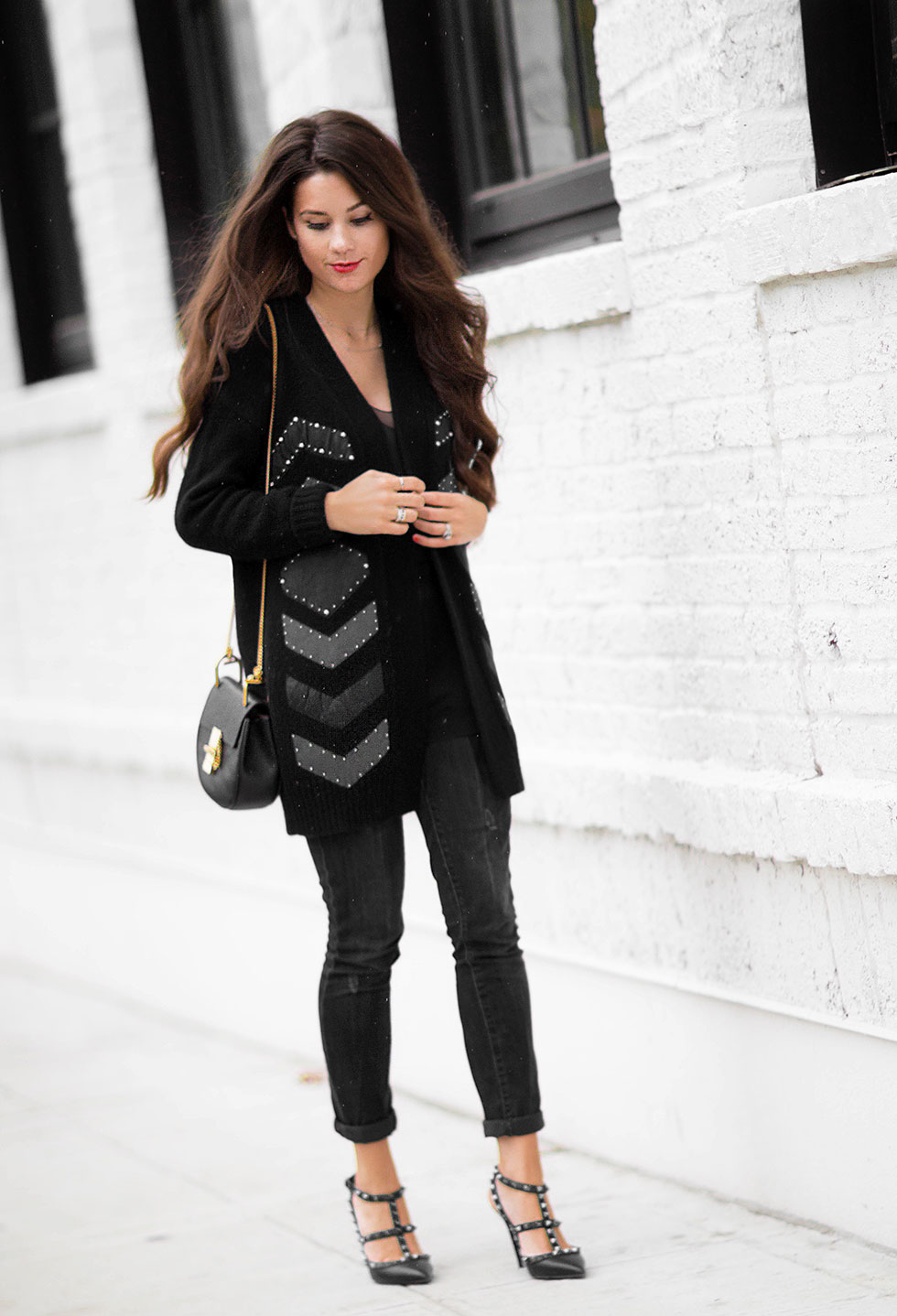 Foundrae Slouchy Cardigan with Leather Detail