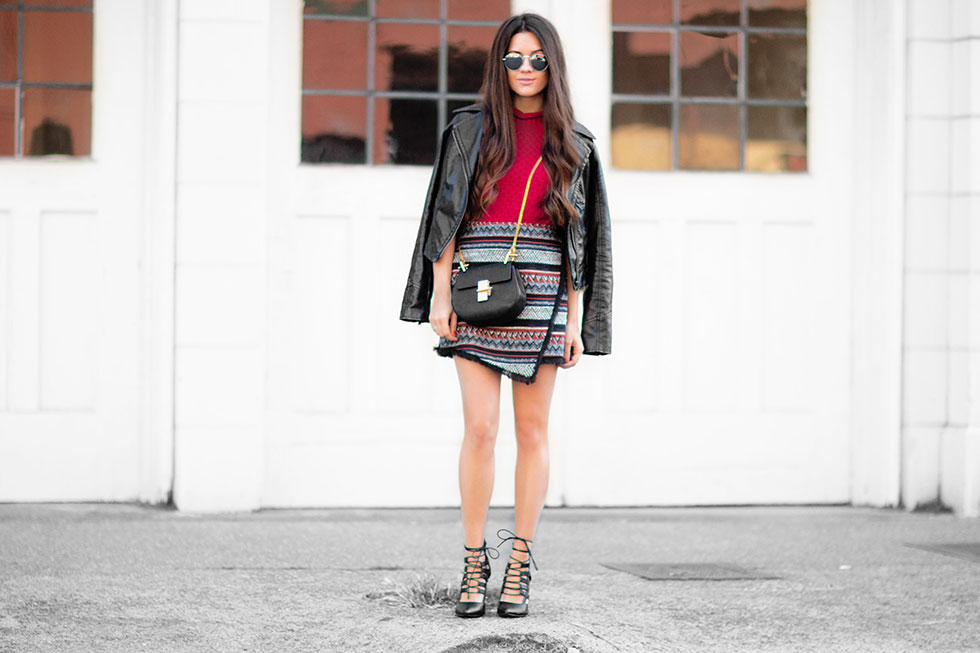 Sam Edelman Hope wraparound  Stripe Skirt Sam Edelman Milla Crop Top Sweater Chloe Drew Mini Chain Shoulder Bag in Black