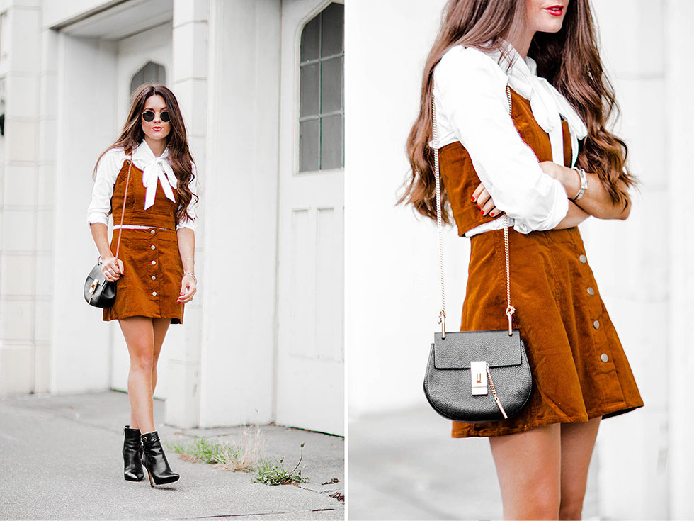Cognac Corduroy Overalls Crop Top and mini skirt