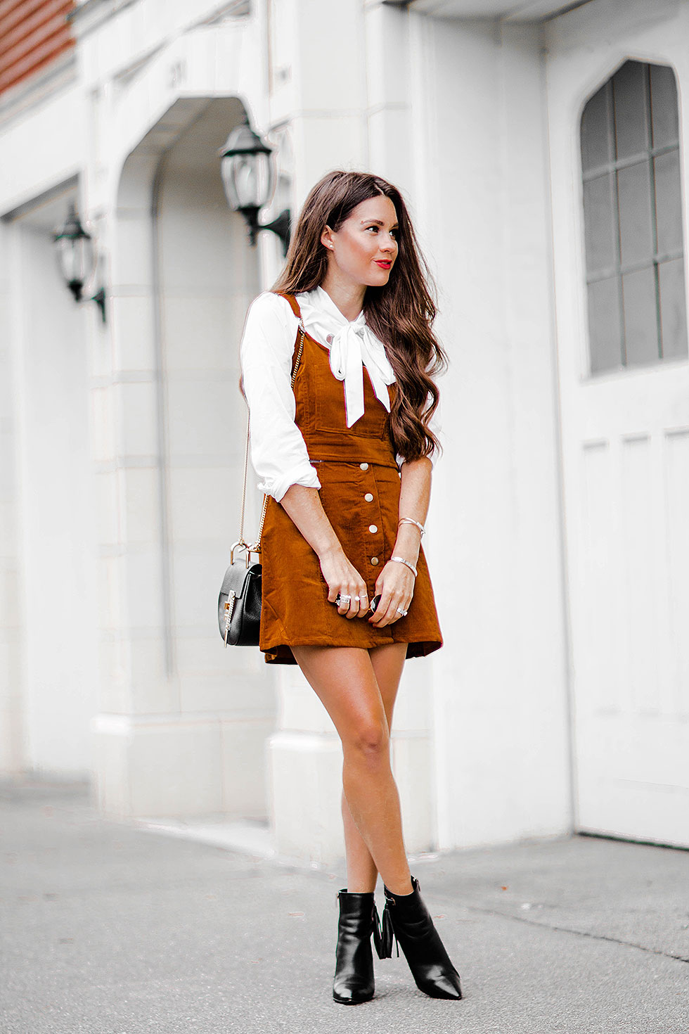 2865ab8ed Cognac Corduroy Overalls Crop Top and mini skirt ...