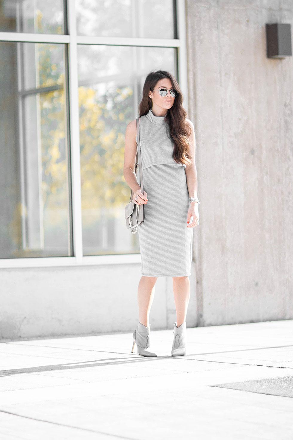 Monochormatic Grey Outfit Mock-Turtleneck Popover Dress
