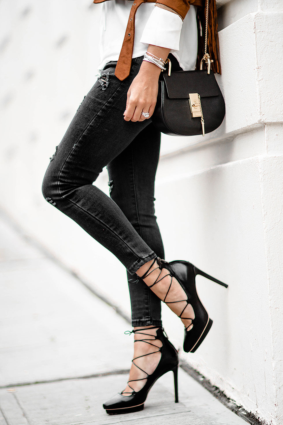 Lace-Up Ankle-Wrap Heel