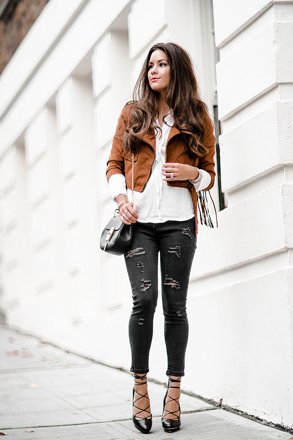 Cropped Suede Fringe Jacket Fall Outfit