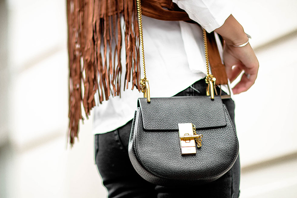 Chloe Drew Mini Chain Shoulder Bag in Black Cropped Suede Fringe Jacket Fall Outfit