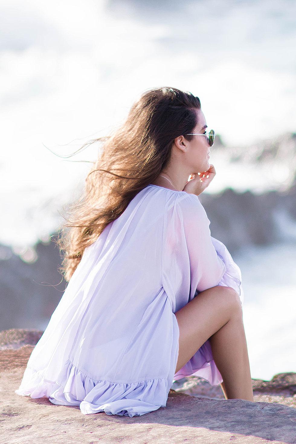 Long Sleeve Ruffle Babydoll Dress Maui Hawaii Outfit