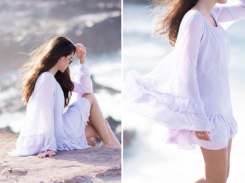 Long Sleeve Ruffle Babydoll Dress Maui Hawaii Outfit