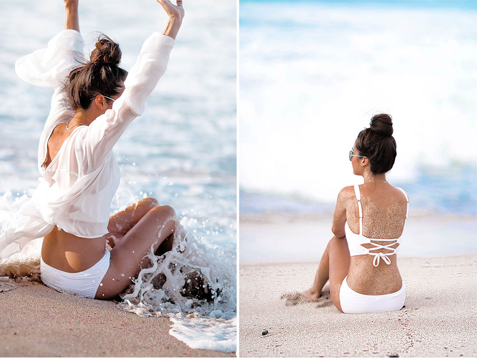 3 Swimsuits to Boost Your Holiday Style at the Beach White Swimsuit Maui Hawaii
