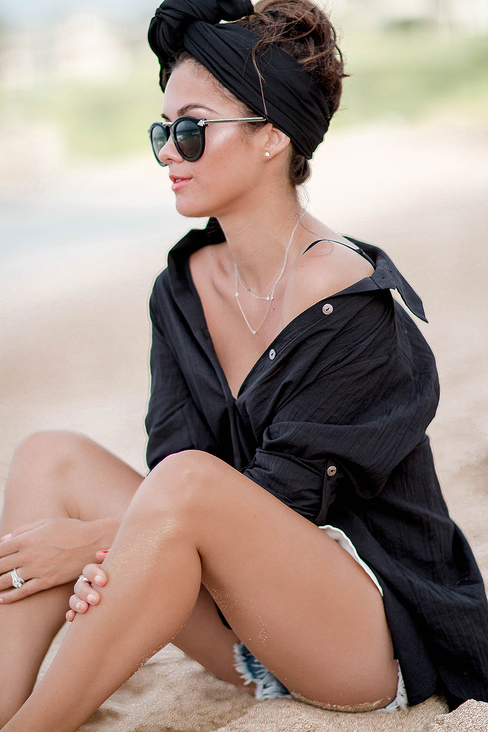 Tommy Bahama Boyfriend Shirt Cover-Up Beach Outfit Maui, Hawaii Karen Walker Harvest Superstars round-frame acetate sunglasses
