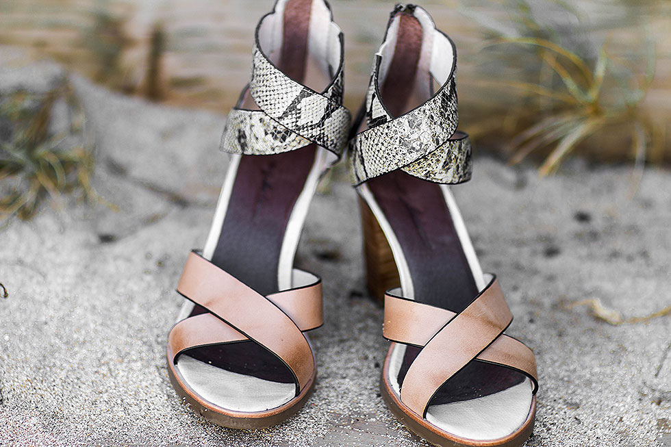 Tommy Bahama Lavina Leather Sandals with crisscross exotic snakeskin motif and stacked heels