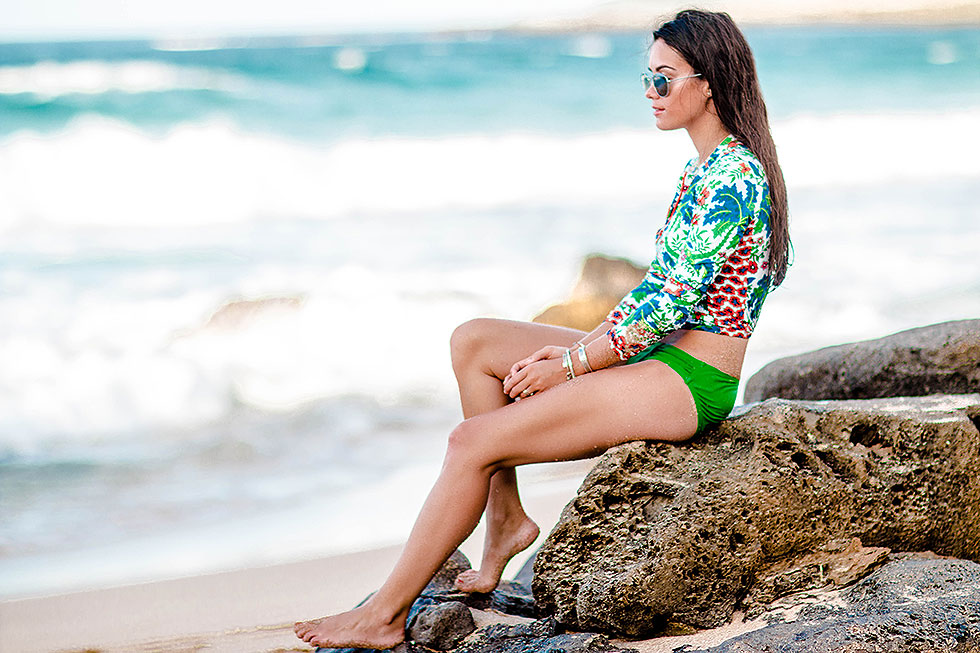 3 Swimsuits to Boost Your Holiday Style at the Beach Tommy Bahama Palm Paisley Long-Sleeve Rashguard Maui Hawaii
