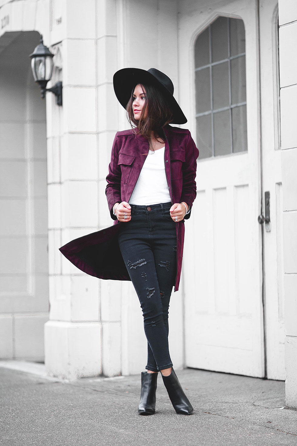 Stylish Vince Camuto Oxblood Suede Jacket
