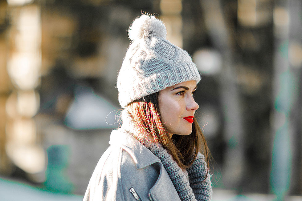 cold weather winter outfit whistler canada Knit Beanie Hat with Pom in Heather Grey