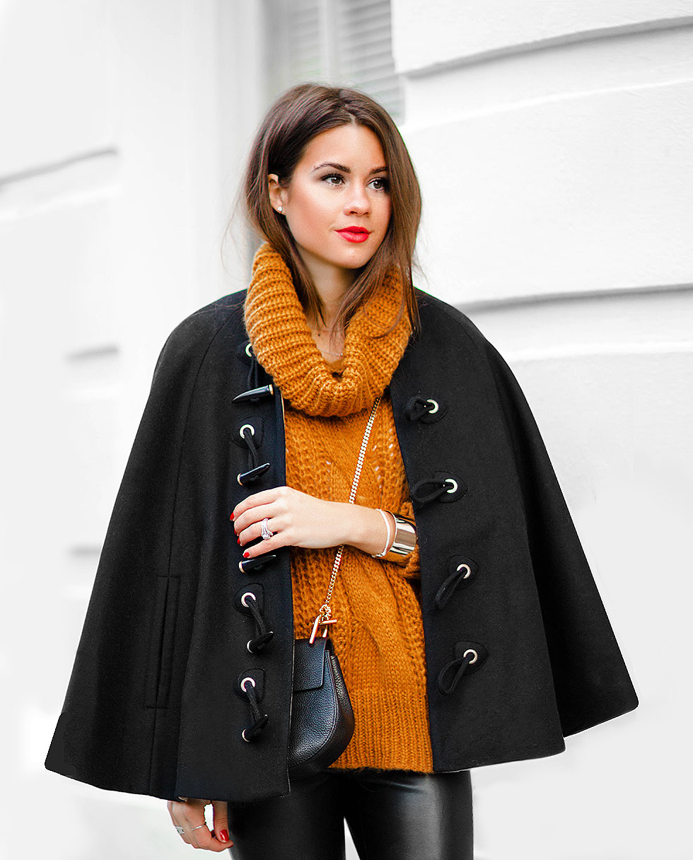 Rachel Zoe black wool cape Yellow High Neck Cable Knit Sweater