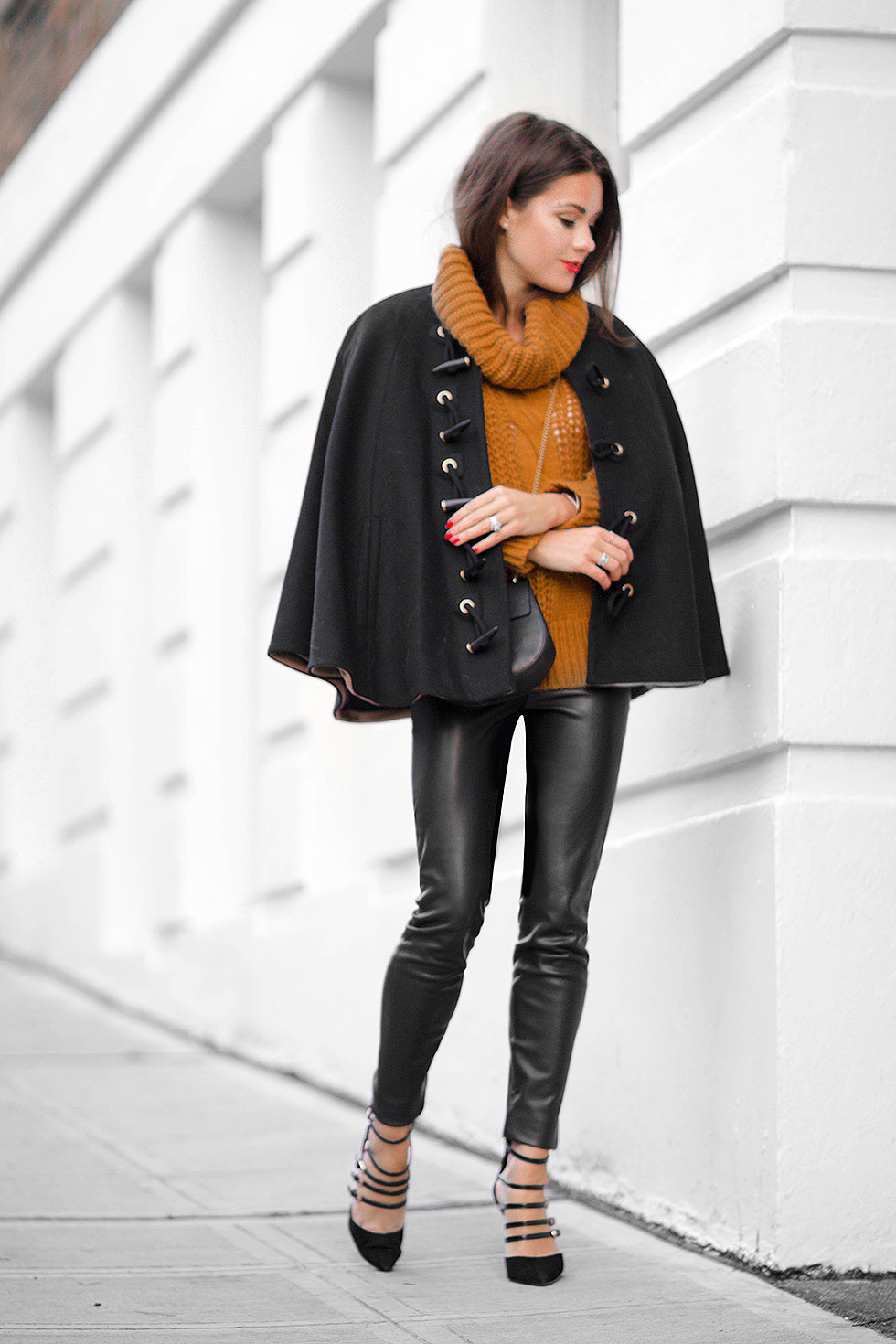 Rachel Zoe black wool cape Yellow High Neck Cable Knit Sweater Faux Leather Skinny Pants Caged Pointed High Heels