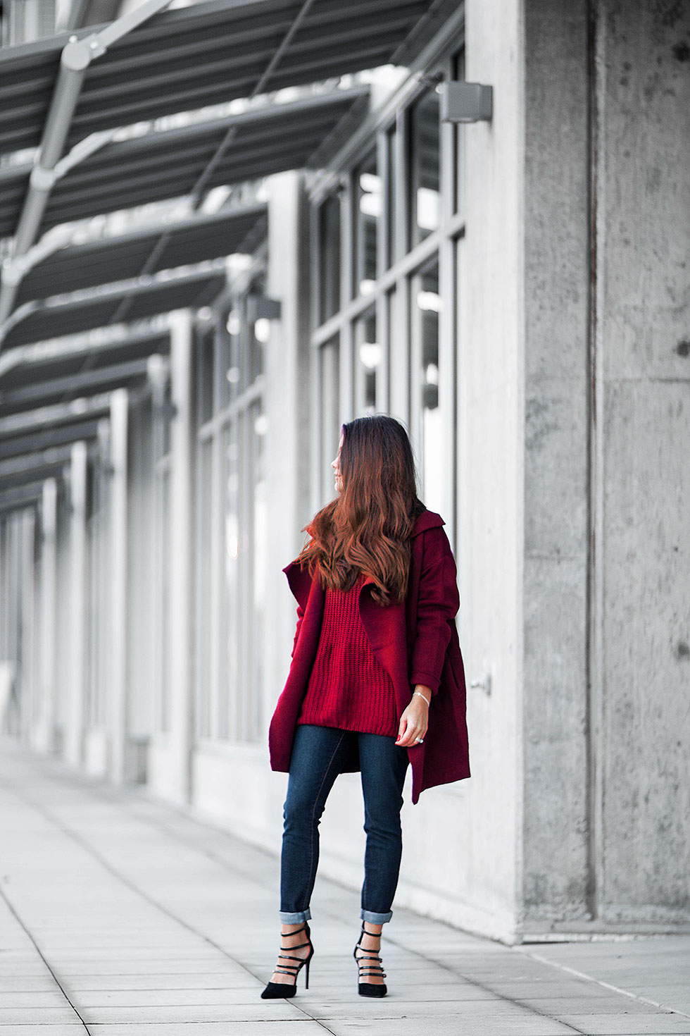 burgundy fall outfit featuring a wine red cardigan Wine Red Long Sleeve Knit Cardigan Red Long Sleeve Knit Sweater Denizen by Levi's Women's Essential Stretch Skinny Jean