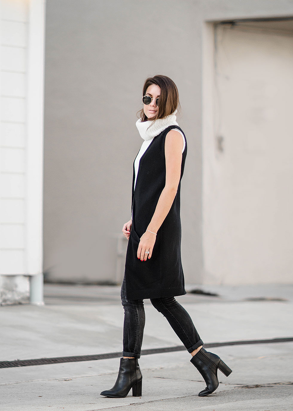 Sophisticated Black Cashmere Long Vest Fall Outfit