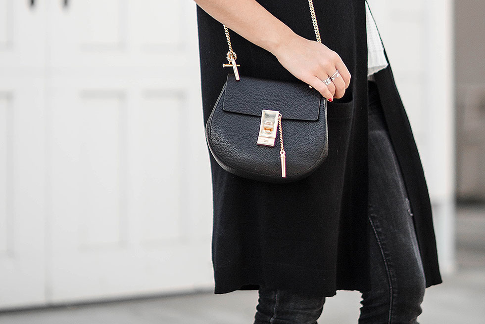Sophisticated Black Cashmere Long Vest Fall Outfit Chloe Drew Mini Chain Shoulder Bag in Black