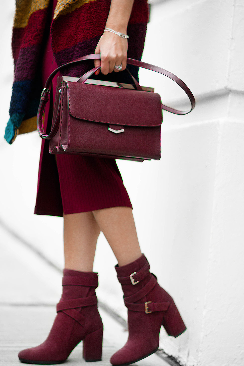Fendi burgundy leather Demi Jour split shoulder bag and Tommy Hilfiger Burgundy SUEDE SLOUCH BOOT