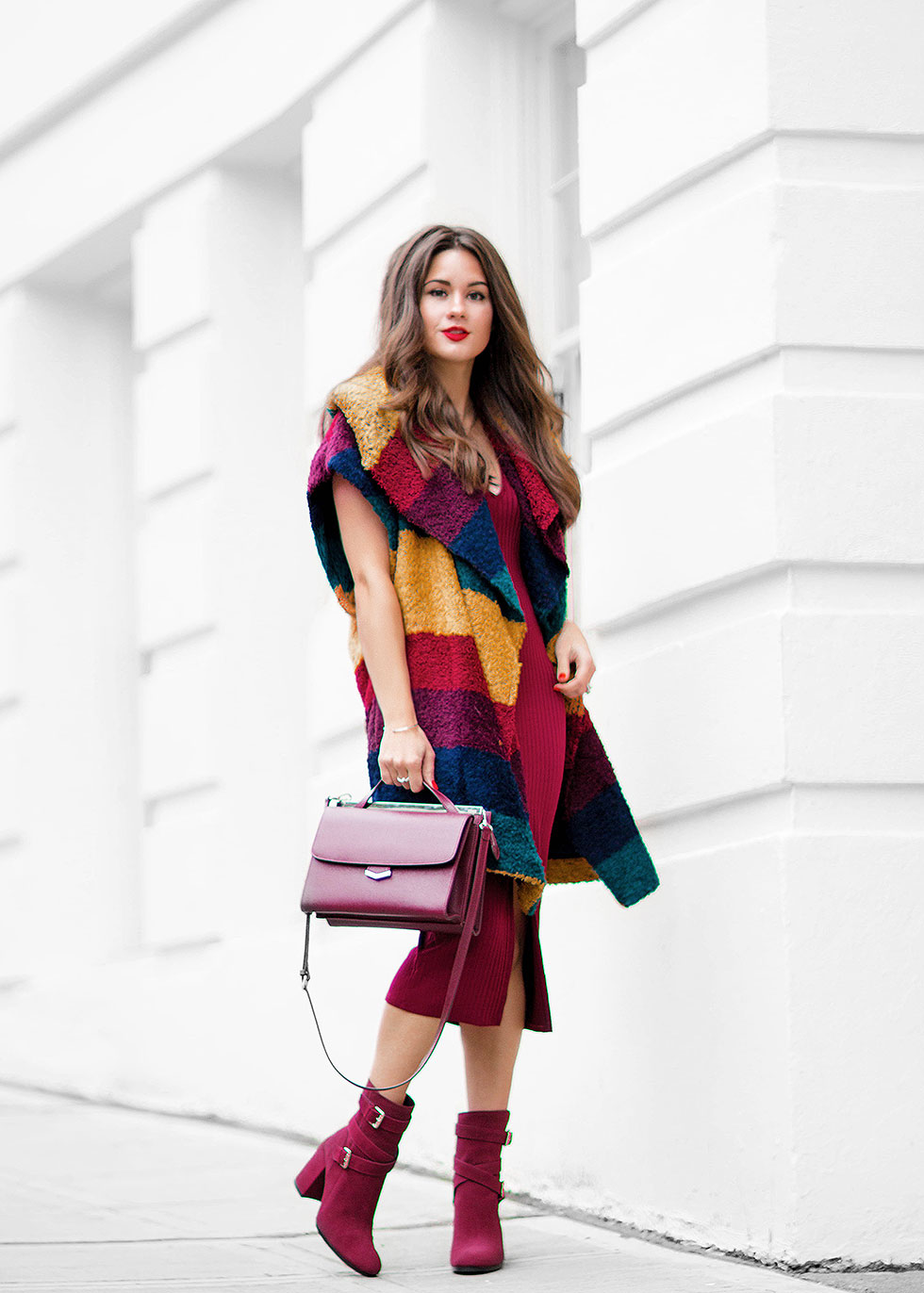 Alice and Olivia Muriel Striped Oversized Shawl, Fendi burgundy leather Demi Jour split shoulder bag and Tommy Hilfiger Burgundy SUEDE SLOUCH BOOT